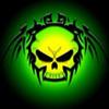 Тату череп на <b>зеленом</b> <b>фоне</b> гифка анимация