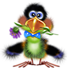 <b>Птица</b> <b>с</b> цветочком в клюве гифка анимация
