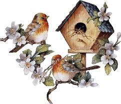 <b>С</b> Днем <b>птиц</b>! <b>Птицы</b> у скворечника гифка анимация