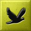 <b>Черная</b> <b>птица</b> на золотистом фоне гифка анимация