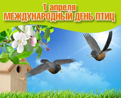 Открытка. День <b>птиц</b>! <b>С</b> праздником вас, дорогие гифка анимация
