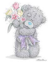 <b>Медвежонок</b> <b>с</b> букетом цветов гифка анимация