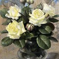 Букет белых роз. Работа <b>Юрия</b> Яроша гифка анимация
