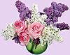 <b>Сирень</b> и розы в вазе гифка анимация