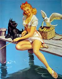 <b>Открытки</b>. <b>С</b> <b>днем</b> <b>рыбака</b>! Девушка на рыбалке <b>с</b> собачкой гифка анимация