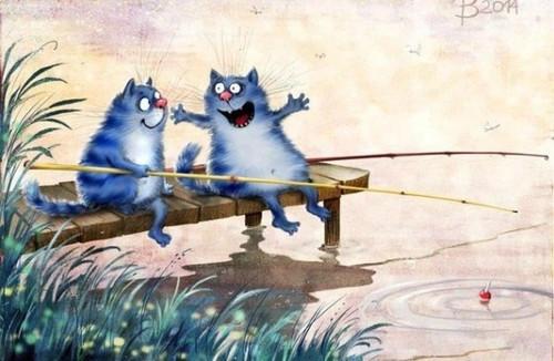 <b>Открытки</b>. <b>С</b> <b>днем</b> <b>рыбака</b>! Коты-<b>рыбаки</b> гифка анимация