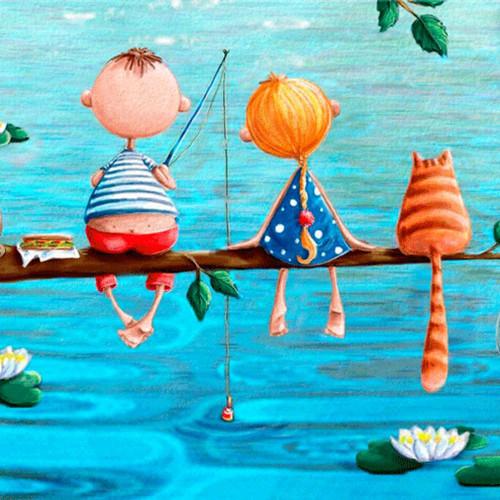 <b>Открытки</b>. <b>С</b> <b>днем</b> <b>рыбака</b>! <b>Рыбаки</b> - мальчик, девочка и кот гифка анимация