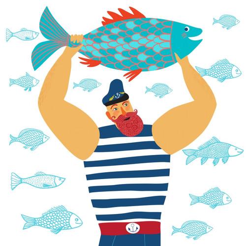 <b>Открытки</b>. <b>С</b> <b>днем</b> <b>рыбака</b>! <b>С</b> праздником! <b>Рыбак</b> <b>с</b> большой ры... гифка анимация