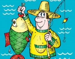 <b>Открытки</b>. <b>С</b> <b>днем</b> <b>рыбака</b>! <b>Рыбак</b> <b>с</b> удочкой и рыбиной гифка анимация