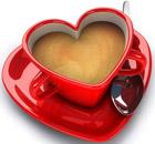 <b>Кофе</b> в красной чашке-сердечке гифка анимация
