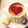 <b>Кофе</b> с сердцем и печеньем гифка анимация