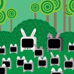 Семья <b>телевизоров</b> <b>с</b> кроличьими ушками на фоне травы гифка анимация