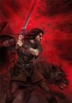 Воин <b>с</b> мечом и <b>волком</b> в ярости на красном фоне гифка анимация