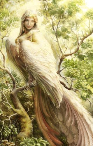 Гиф рисунок <b>птицы</b> <b>с</b> женской головой гифка анимация