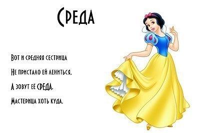 <b>Открытки</b>. <b>Среда</b>! Девушка-принцесса гифка анимация