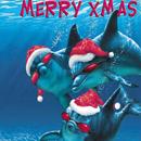 <b>Новогодние</b> дельфины гифка анимация