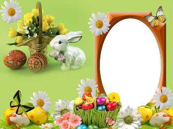 <b>Открытка</b>-рамка для фото. <b>С</b> <b>Днем</b> <b>Рождения</b>! <b>Зайка</b>, цветы гифка анимация