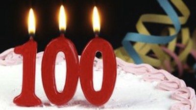<b>100</b>-<b>летний</b> <b>юбилей</b>! Поздравляем! гифка анимация