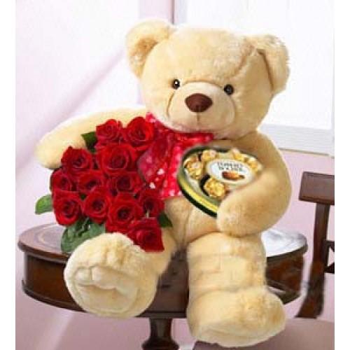Открытки. Доброе утро! Медведь, <b>цветы</b>, <b>конфеты</b>! гифка анимация