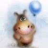 Животные Бегемотик с воздушным шариком смайлик gif анимация