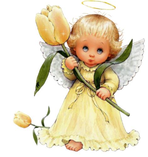Открытки. <b>С</b> <b>днем</b> <b>ангела</b>! <b>Ангел</b> <b>с</b> желтым тюльпаном гифка анимация