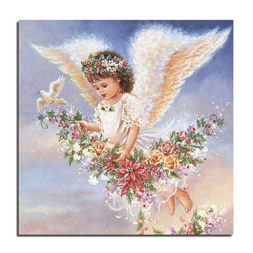 Открытки. <b>С</b> <b>днем</b> <b>ангела</b>! <b>Ангел</b> <b>с</b> цветами в небе гифка анимация