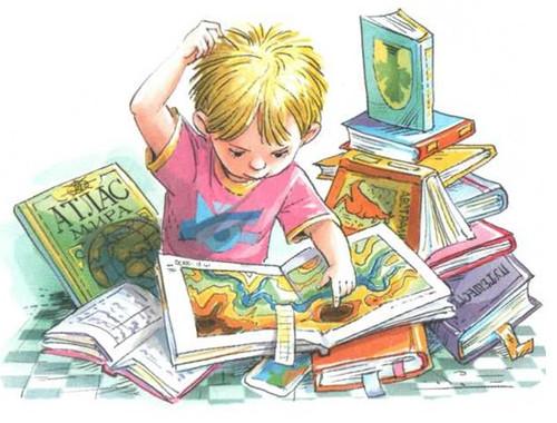 <b>Открытка</b>. День детской книги! Мальчик <b>среди</b> книг гифка анимация