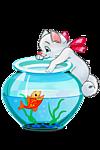 Котя ловит золотую <b>рыбку</b> в <b>аквариуме</b> гифка анимация