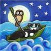 Котенок плывет во сне в лодочке <b>с</b> <b>птицей</b> гифка анимация