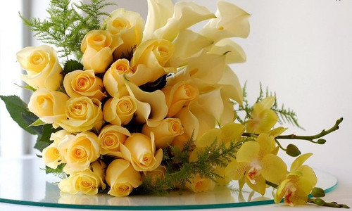 Спасибо в виде роз с <b>орхидеями</b>! гифка анимация