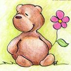 <b>Медвежонок</b> <b>с</b> цветком гифка анимация