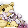 <b>Медвежонок</b> <b>с</b> цветами гифка анимация