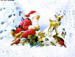 Дед мороз и <b>зверюшки</b> на фоне леса гифка анимация