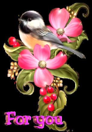 Открытка для Тебя.Розовый цветок <b>с</b> <b>птицей</b> и ягодами гифка анимация