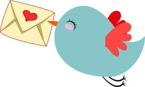 День почты! <b>Птица</b> <b>с</b> сердечком на конверте гифка анимация
