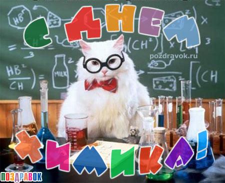 <b>С</b> <b>Днем</b> <b>Химика</b>! Белый ученый кот проводит опыты гифка анимация