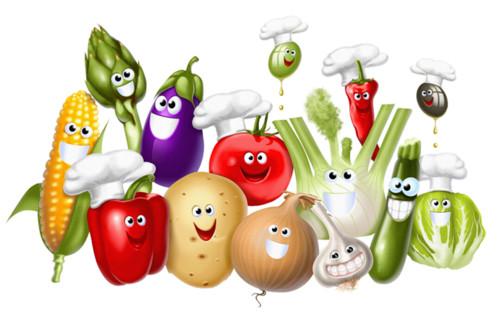 Праздники Международный день повара. Веселые овощи смайлик гиф анимация
