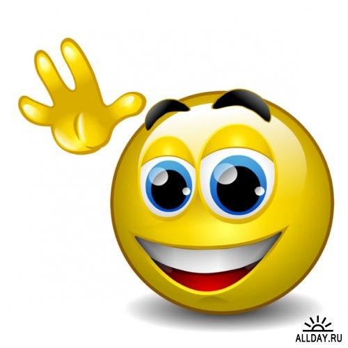 <b>С</b> <b>Днем</b> <b>улыбки</b>! Смайлик машет <b>с</b> <b>улыбкой</b> гифка анимация