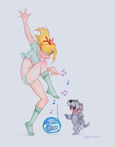 <b>С</b> <b>днем</b> блондинок! <b>Танец</b> <b>с</b> песиком гифка анимация