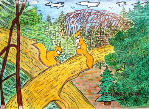 <b>С</b> <b>Днем</b> <b>Работников</b> <b>Леса</b>! Белочки, рисунок Asanov Kasym гифка анимация