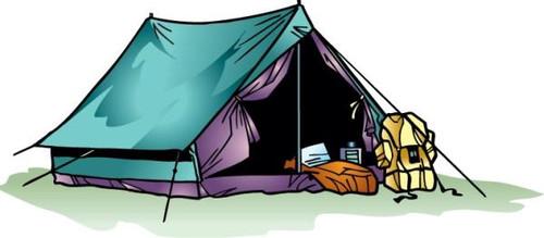 Праздники Открытка. День туризма. Палатка смайлик гиф анимация
